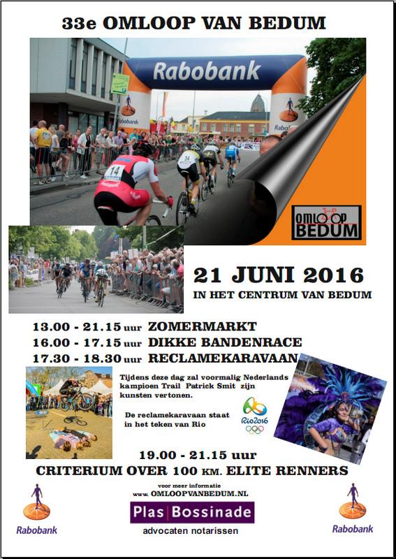 33e Omloop van Bedum op dinsdag 21 juni 2016